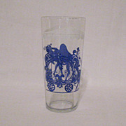 Vintage Tall Heavy Circus Motif Glass 1960s Excellent Condition