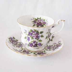 Vintage Bone China Royal Albert Springtime Series Violets Cup & Saucer 1960s Like New Condition
