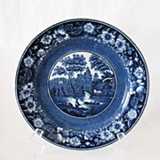 Vintage Collectible  Petrus Regout Maastricht 9 Inch Flo Blue Charger Plate 1920-30s Excellent Condition