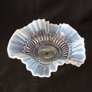 Vintage 8 ¾ Inches Blue Opalescent Crimped Bowl by L.G. Wright/Fenton Very Good Condition
