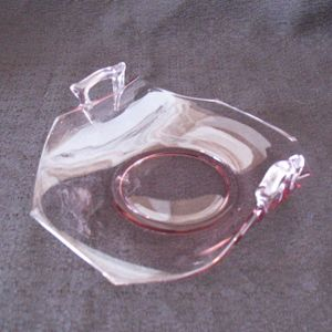Vintage Pink Depression Glass 1930s BonBon Dish upturned Handles Looks Like New Condition