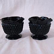 Vintage Tiara Cameo Black Single Lite Candle Holders 1970-80s Diamond Pattern Like New Condition