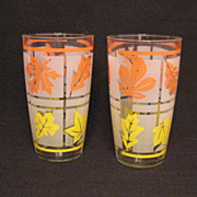 SOLD Vintage Hazel Atlas Mid-Century Tea Glasses Leaf Motif Excellent Condition