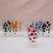 SALE Vintage (6) Hazel Atlas Optical Polka Dot 10 ounce Glasses Very Good Condition
