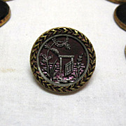 SALE (9) Vintage Old Antique Picture Buttons