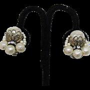 Vintage Miriam Haskell Pearl Rhinestone Earrings