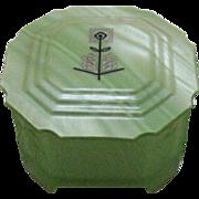 Vintage Art Deco Powder Box Bakelite Lid Glass Bottom Nude Women in Relief Very Good Condition
