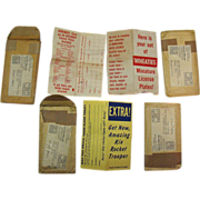 Vintage Packing Envelopes & Advertising Pages Wheaties License Plates Promotion 1953-54 Good t