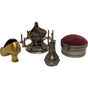 SOLD Vintage Metal Sewing Shoe Pin Cushion Thread Holder Oil Can Round Pin Cushion Box 1930-40