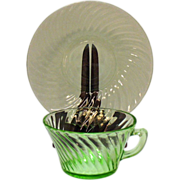 Vintage Hocking Glass Co. 5 Cup & Saucer Sets Green Depression glass in Spiral Pattern 1928-30 Very Good Condition