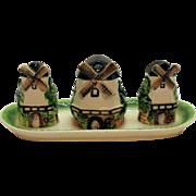 Vintage Japan 1950s Ceramic Condiment Set Good Condition