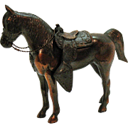 Vintage Metal Horse with Removable Saddle Copper Wash 1930-40s Excellent Condition