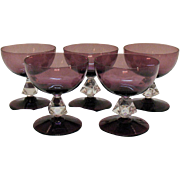 Vintage (5) Bryce 4 Inch Tall Sherbets 1950-65 Aquarius-Amethyst Bowl & Foot Pattern #961 Very Good Condition
