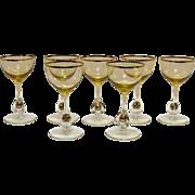 Vintage Set of 7 Atlas Liquor Cocktail Glasses Golden Ball in Stem Pattern Topaz/Yellow Bowl Czechoslovakia 1957 Very Good Condition