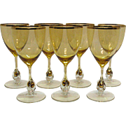 Vintage Set of 7 Atlas Water Goblets Golden Ball in Stem Pattern Topaz/Yellow Bowl Czechoslovakia 1957 Very Good Condition
