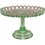 Vintage Depression Transparent Green Pedestal Cake Plate with Upturned Lacey Edge Good Condition.