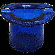 Vintage Cobalt Blue Top Hat/Ashtray by Lowell Hand Cream Deodorant of Piqua Ohio 1950s Good Condition
