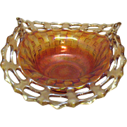 Vintage Fenton Bon Bon Dish Basket weave Pattern Open Lacey Edge Marigold Colored 1921-37 Very