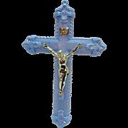 Vintage Plastic Blue Crucifix 1950s Very Good Condition