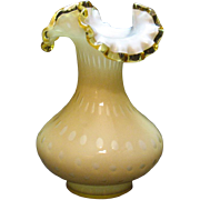 Vintage Fenton overlay bubble optic vase with gold crest edge from 1961-64 still in very good