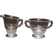 Vintage Duncan & Miller Sugar &  Creamer in Tear Drop Pattern 1936-55 Very Good Condition