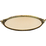 Vintage large vanity tray/mirror with bird handles, filigree metal work, and floral design from the 1940-50s still in very good condition