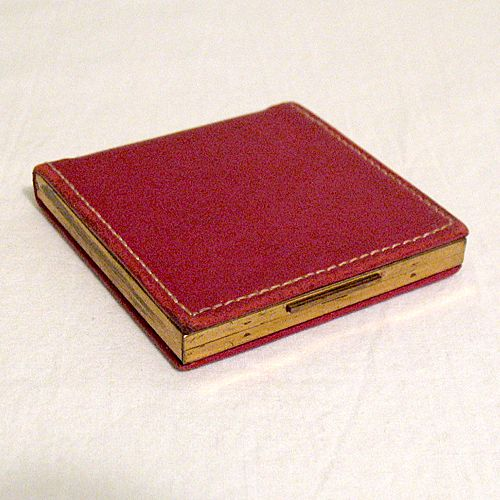 50% OFF~Vintage Red Elgin American Powder Compact Red Leather~FABULOUS
