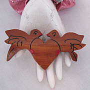 HUGE Vintage Wooden Love Bird Heart Brooch Signed Pat Pend