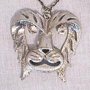 Fabulous Vintage Lion Head Rhinestone Eye Necklace