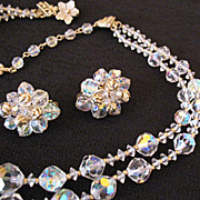 Amazing Sparkle Vendome Vintage Necklace & Earrings Set 1957