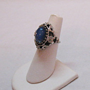 Amazing Vintage 18K Gold Electric Plated Moonstone Ring