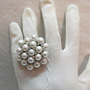 Amazing Vintage Cocktail Ring Sterling Silver Faux Pearl Cluster & CZs