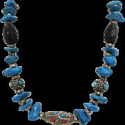 Vintage Tibetan Turquoise Onyx & Coral Necklace