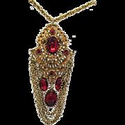 Vintage Red Glass Rhinestone Pendant Necklace~Captivating