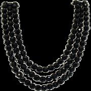 Signed Hobe 3 Strand Black Glass Beaded Necklace