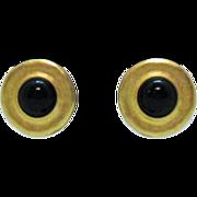 Signed Erwin Pearl Earrings Fernando Originals Black Glass
