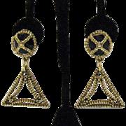 Etruscan Style Vintage Black Glass Dangle Earrings