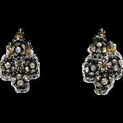 Awesome Vintage Orb Rhinestone Clip Earrings