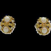 Bold Etruscan Opaque & Rhinestone Clip Earrings