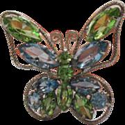 Vintage Aqua & Peridot Rhinestone Butterfly Brooch