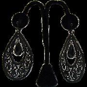 Vintage Metal Tear Drop Clip Earrings 3 ¼ Long!