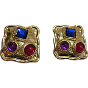 Vintage Poured Glass & Rhinestone Clip Earrings