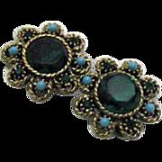 Vintage Emerald Green Rhinestone Earrings & Faux Turquoise
