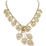 Vintage Rhinestone Leaf Necklace & Earrings Set