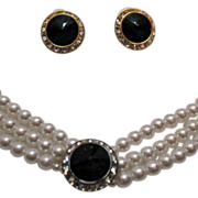 Vintage Rivoli Rhinestone Faux Pearl Necklace Pierced Earrings
