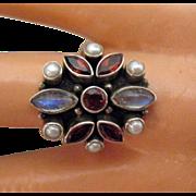 Estate Retired Nicky Butler Gemstone Sterling Silver Ring