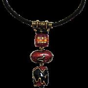 Vintage Retired Chicos Art Glass Braided Silk Necklace