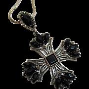 Maltese Cross Onyx Sterling Marcasite Pendant Necklace