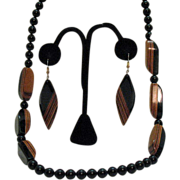 Modernistic Laminated Wood Necklace & Pierced Earrings