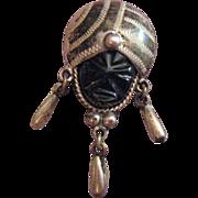 Sterling Black Onyx Aztec Tribal Face Brooch/Pin